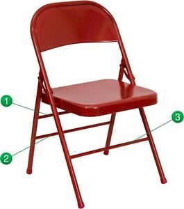 Metal Folding Chair Red Color Triple Braced And Double Hinged