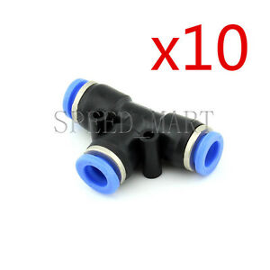 10 Pcs T junction Pe8 Pneumatic Air 3 Way Quick Fittings Connector 8mm Tube Hose