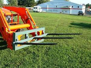 Skid Steer Triple Bale Spear Attachment 3 X 39 Prong Cat m Hay Bale Handler