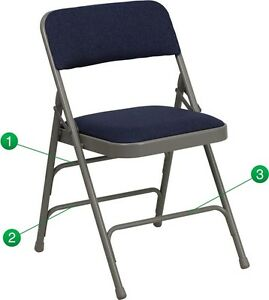 Metal Folding Chair Navy Color Fabric Heavy Duty Triple Braced Quad Hinged