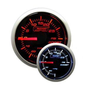 Prosport 52mm 2 1 16 Performance Series Mechanical Boost Gauge amber White