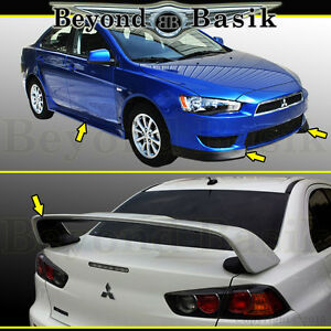 2008 15 Mitsubishi Lancer Factory Style 4pc Body Kit evo Style Spoiler Unpainted