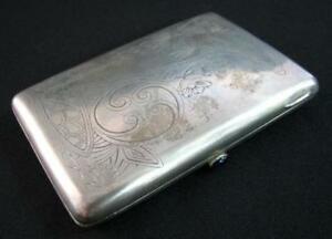 Rare Antique Russia Imperial Silver Mark 84 1890 S Engraved Cigarette Case