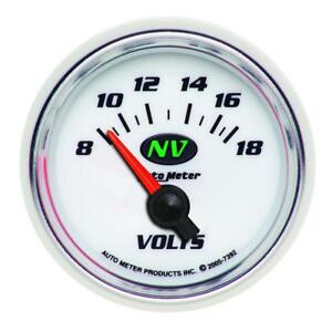 Auto Meter Voltmeter Gauge 7392 Nv 8 To 18 Volts 2 1 16 Short Sweep Electrical