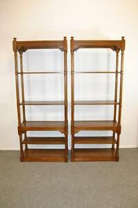 6 Shelf Jacobean Oak Free Standing Bookshelf By Hekman
