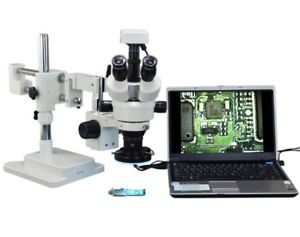 Omax 2 1x 90x 3mp Trinocular Dual bar Boom Zoom Stereo Microscope For Soldering