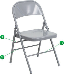 100 Pack Metal Folding Chair Gray Color Triple Braced And Double Hinged
