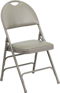 100 Pack Metal Folding Chair Gray Vinyl Triple Braced And Easy carry Handle