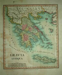1811 William Darton Wilkinson Map Ancient Greece Crete Scholarly