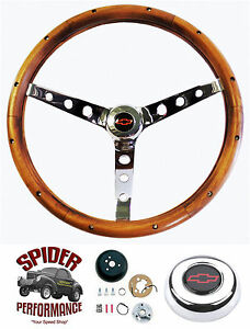1961 1963 Impala Bel Air Biscayne Steering Wheel Red Bowtie 15 Classic Walnut