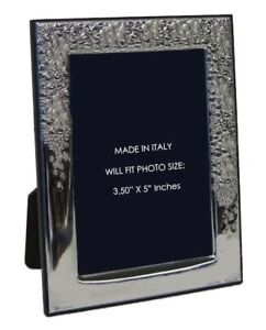 Italian Silver Laminate Elegant Floral Flower Shiny 3 50 X 5 Picture Frame 20136