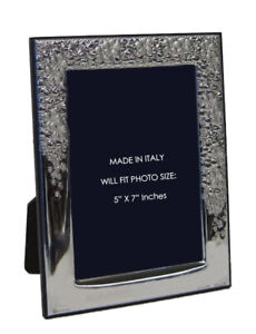 Italian Silver Laminate Elegant Floral Flower Shiny 5 X 7 Picture Frame 20137