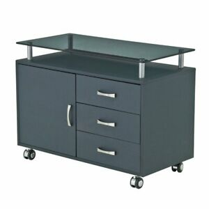 Rolling Mobile Storage File Organizer Cabinet With Smoke Grey Tempered Glass