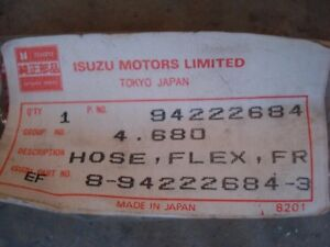 Isuzu Pup Diesel Or Chevy Luv Diesel Rubber Brake Lines Front Right New Nos