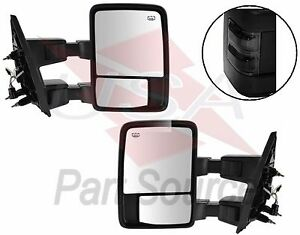 Pair Power Towing Mirrors Ford Super Duty Passenger Driver Side Tow Smoke Lens
