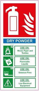 Fire Extinguisher Dry Powder Sticker Sign Health And Safety 200x85mm