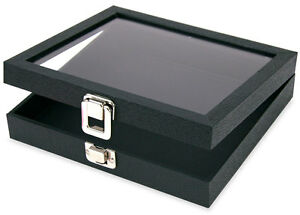 New Retail Glass Lid Display Trays With Clasp Small Black Faux Leather Case