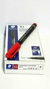 Staedtler Lumocolor Permanent Special Marker Red Fine Box Of 10 Ea 319f2