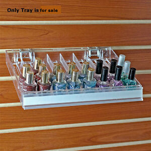 2 Pc Clear Eight Compartment Counter floor Display Nail Polish Tray 12 w X 9 5 d