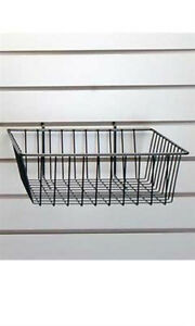 New Black Mini Grid Wire Basket For Slatwall Dimensions 12 L X 12 W X 4 Dia