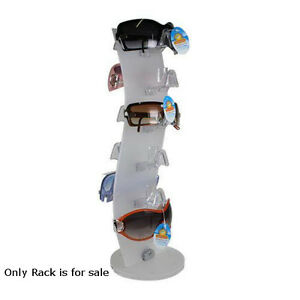 Retails White Acrylic Counter Top Rotating Sunglass Display Rack 18 H X 6 W