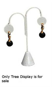 Pack Of 10 New Retails White Faux Leather Earring Tree Displays 5 1 4 h