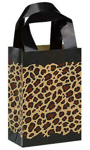 Count Of 100 Frosted Plastic Leopard Print Shopping Bags Small 5 X3 X 7