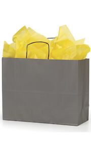 Count Of 100 Retail Small Large Storm Grey Paper Shopping Bag 16 X 6 X 12