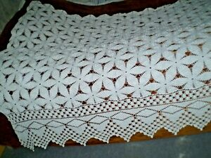 58 X83 Vintage Hand Knitted Cotton Crochet Lace White Square Bedspread Coverlet