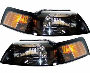 1999 2004 Ford Mustang black Headlights Headlamps Lights Lamps Pair