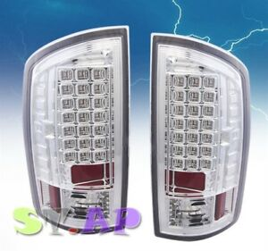 2007 2008 Dodge Ram 1500 2500 3500 Tail Light Led Signal Lamp 2pc Chrome Clear