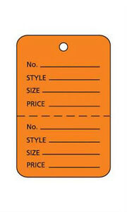 Box Of 1000 New Retails Small Orange Unstrung Coupon Price Tags 1 w X 1 h