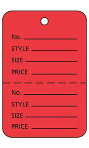 Case Of 1000 New Retails Large Red Unstrung Coupon Price Tags 1 w X 2 h