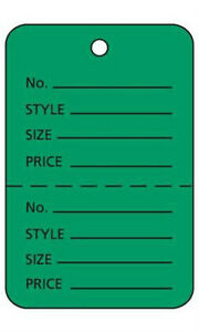Count Of 1000 New Retails Large Green Unstrung Coupon Price Tags 1 w X 2 h