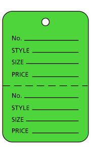 Case Of 1000 New Retails Large Palm Tree Green Unstrung Price Tags 1 w X 2 h