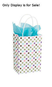 Count Of 100 Small Playful Polkadot Paper Shopping Bag 5 X 3 X 8