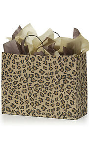 Count Of 100 New Retail Large Leopard Brown Print Paper Shopping Bag 16 x6 x12