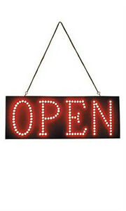 Horizontal Red Led Open Sign Cycles stationary To progressive To flash