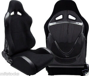 2 X Black Cloth Carbon Racing Seat Reclinable W Slider For Toyota