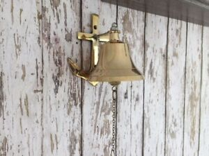 Brass Anchor Ship Bell W Chain Lanyard Pull Nautical Maritime Wall Decor