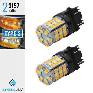3157 Type 2 Switchback White Amber Yellow 60 Smd Led Turn Signal Parking Bulbs