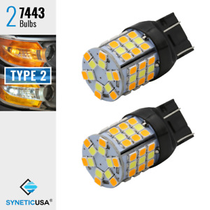 2x 7443 Type 2 Switchback White Amber Yellow 60 Smd Led Turn Signal Light Bulbs