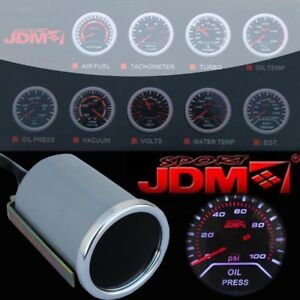Oil Pressure Gauge Racing 100 Psi Meter Led Smoke Tint Car Motor 2 Inch 52mm