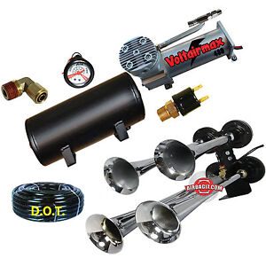 Quad 4 Air Train Horn Kit Semi Truck Boat Chrome Horns 200 Psi Compressor 1gal