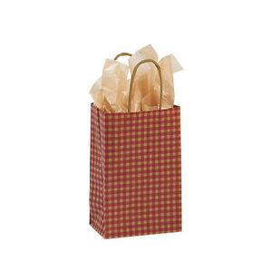 Count Of 100 Small Red Gingham Paper Shopping Bag 5 X 3 X 8