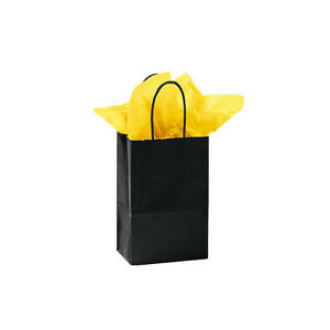 Count Of 100 Small Black Glossy Paper Shopping Bag 5 X 3 X 8