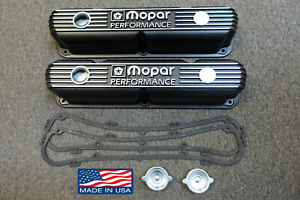 Mopar Performance 318 340 360 Small Block Black Cast Aluminum Valve Covers