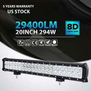 20 Inch 294w Cree Led Light Bar Spot Flood Offroad 4wd Truck Tractor Atv Suv Van