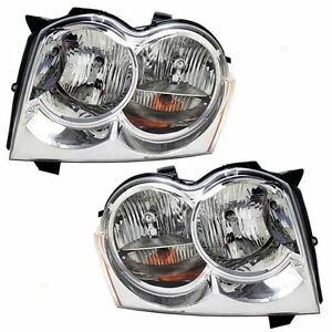 Fits For 2005 2006 2007 Jeep Grand Cherokee Headlights Right Left Pair