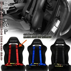 Jdm 4 Point Racing Safety Harness 2 Nylon Seat Buckle Belt Mounting Red Yellow